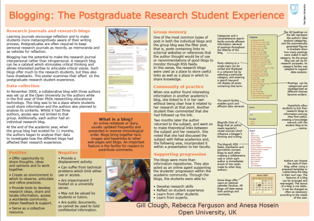 Blogging: The Postgraduate Research Student Experience