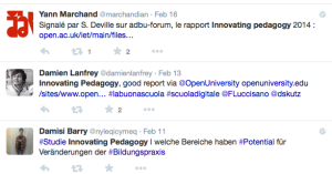 Tweets about Innovating Pedagogy 2014