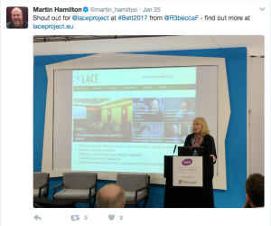 Rebecca talking at BETT