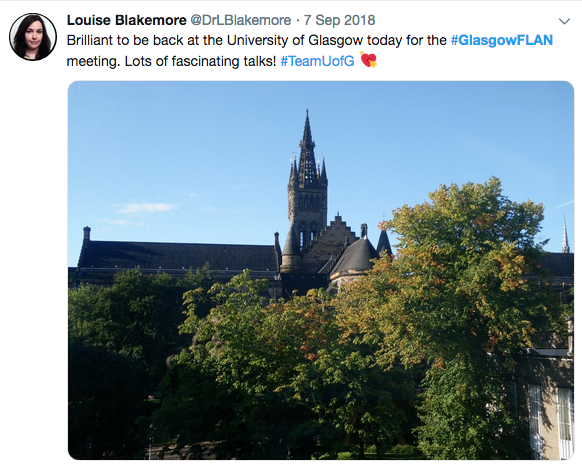 Tweet about Glasgow FLAN meeting alongside a picture of Glasgow University