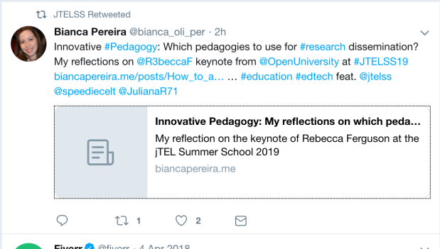 Tweet about the presentation