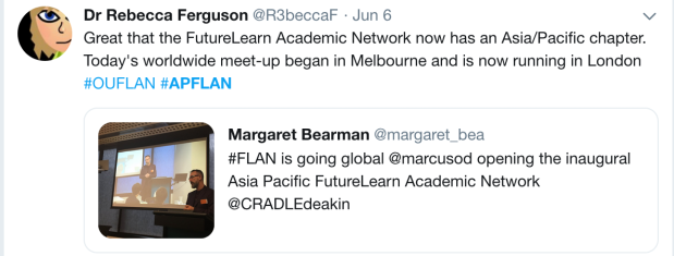 Tweet about FLAN in Melbourne