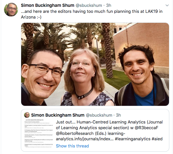 The three editors of the special issue, pictured at LAK19: SImon, Rebecca and Roberto