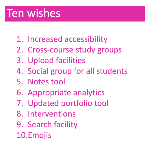 Ten wishes: increased accessibility, cross-course study groups, upload facilities, social group for all students, Notes tool, appropriate analytics, updated portfolio tool, interventions, search facility, and emojis.