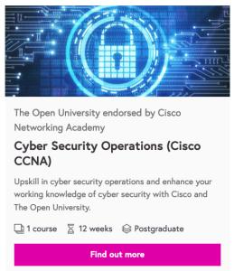 Cyber Security microcredential area on FutureLearn platform