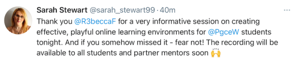 Tweet about the PGCE event
